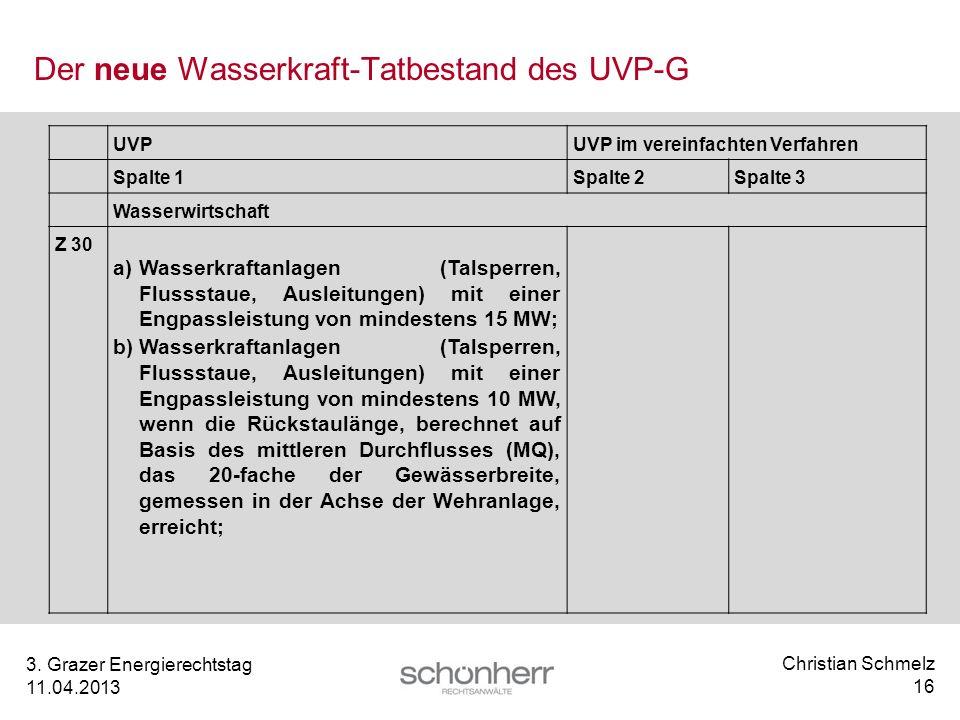 Christian Schmelz 16 3. Grazer Energierechtstag 11.04.2013 Der neue Wasserkraft-Tatbestand des UVP-G UVPUVP im vereinfachten Verfahren Spalte 1Spalte