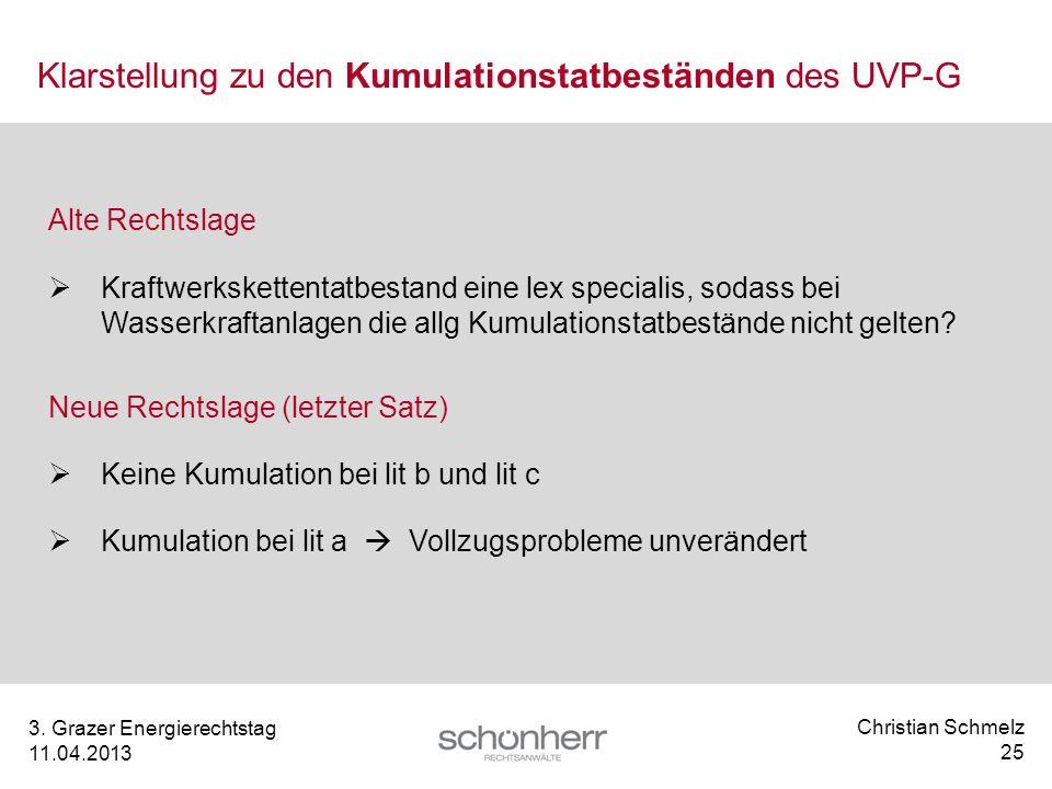Christian Schmelz 25 3. Grazer Energierechtstag 11.04.2013 Klarstellung zu den Kumulationstatbeständen des UVP-G Alte Rechtslage Kraftwerkskettentatbe