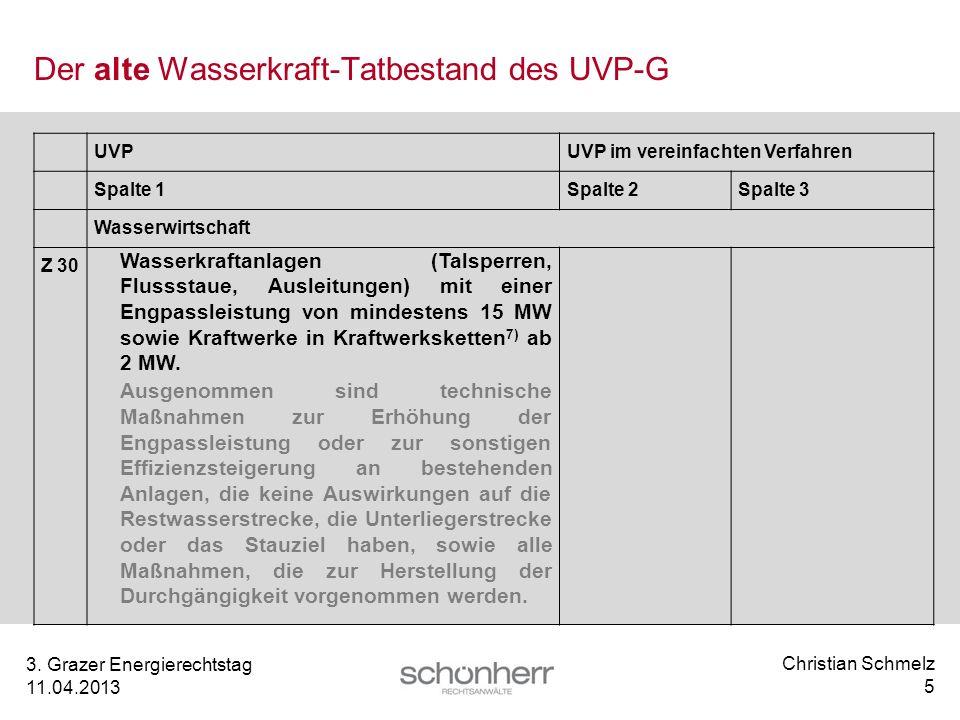 Christian Schmelz 5 3. Grazer Energierechtstag 11.04.2013 Der alte Wasserkraft-Tatbestand des UVP-G UVPUVP im vereinfachten Verfahren Spalte 1Spalte 2