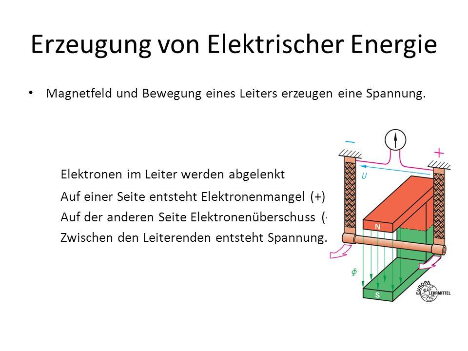 Erzeugung von Elektrischer Energie Magnetfeld und Bewegung eines Leiters erzeugen eine Spannung. Elektronen im Leiter werden abgelenkt Auf einer Seite