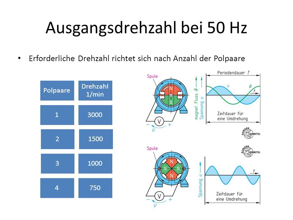 Ausgangsdrehzahl bei 50 Hz Erforderliche Drehzahl richtet sich nach Anzahl der Polpaare Polpaare Drehzahl 1/min 13000 21500 31000 4750