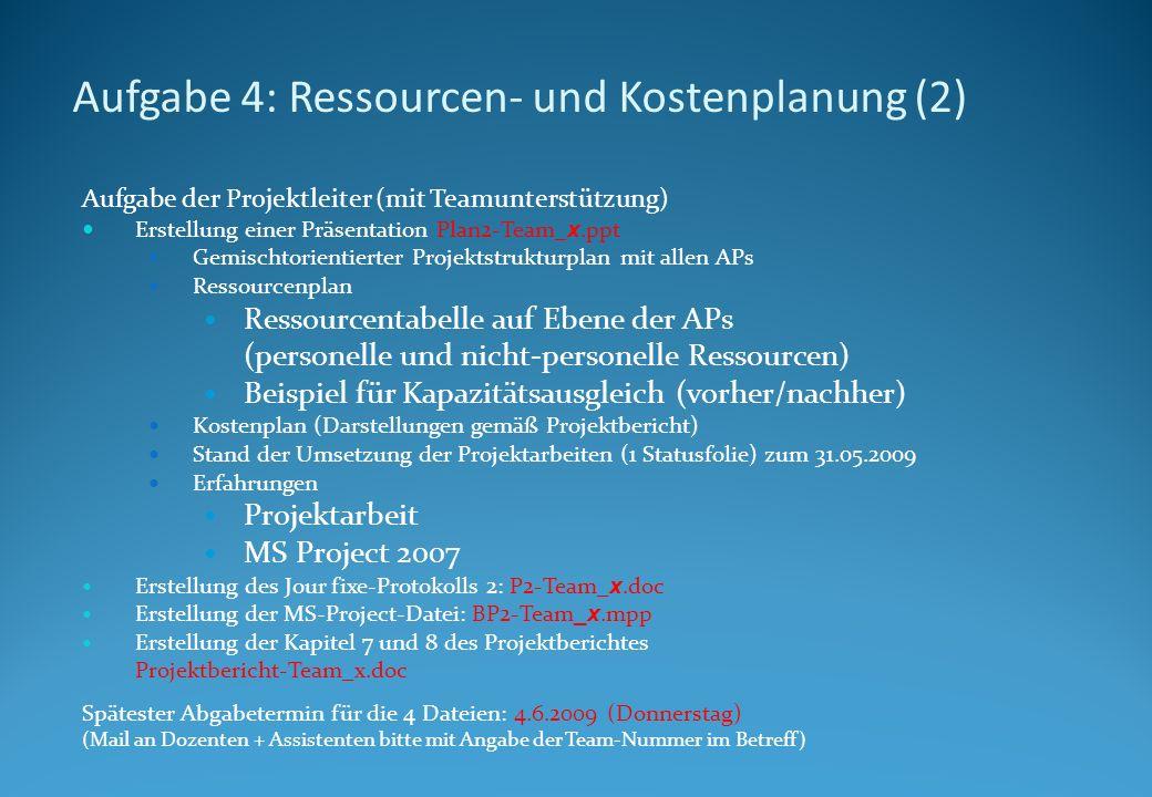 Aufgabe 4: Ressourcen- und Kostenplanung (2) Aufgabe der Projektleiter (mit Teamunterstützung) Erstellung einer Präsentation Plan2-Team_ x.ppt Gemischtorientierter Projektstrukturplan mit allen APs Ressourcenplan Ressourcentabelle auf Ebene der APs (personelle und nicht-personelle Ressourcen) Beispiel für Kapazitätsausgleich (vorher/nachher) Kostenplan (Darstellungen gemäß Projektbericht) Stand der Umsetzung der Projektarbeiten (1 Statusfolie) zum 31.05.2009 Erfahrungen Projektarbeit MS Project 2007 Erstellung des Jour fixe-Protokolls 2: P2-Team_ x.doc Erstellung der MS-Project-Datei: BP2-Team _x.mpp Erstellung der Kapitel 7 und 8 des Projektberichtes Projektbericht-Team_x.doc Spätester Abgabetermin für die 4 Dateien: 4.6.2009 (Donnerstag) (Mail an Dozenten + Assistenten bitte mit Angabe der Team-Nummer im Betreff)