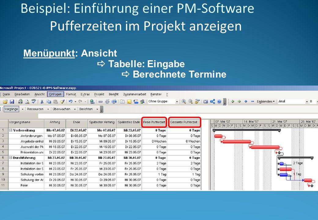 Beispiel: Einführung einer PM-Software Pufferzeiten im Projekt anzeigen Menüpunkt: Ansicht Tabelle: Eingabe Berechnete Termine