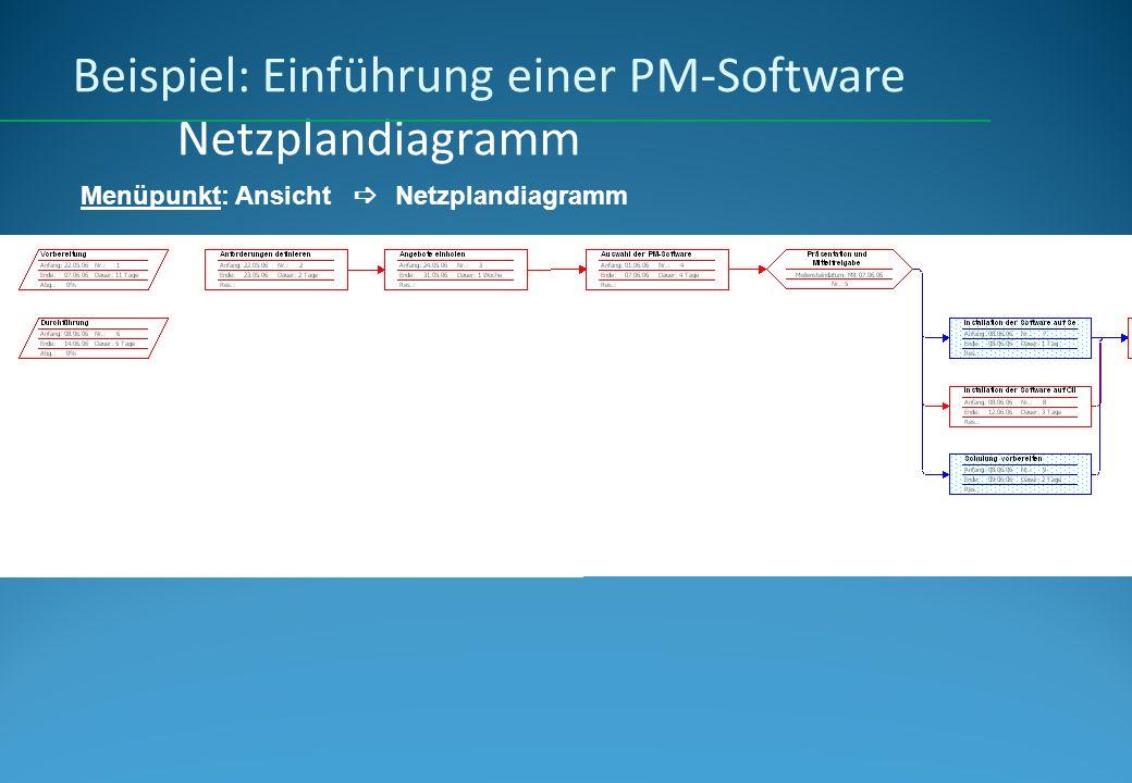 Beispiel: Einführung einer PM-Software Netzplandiagramm Menüpunkt: Ansicht Netzplandiagramm