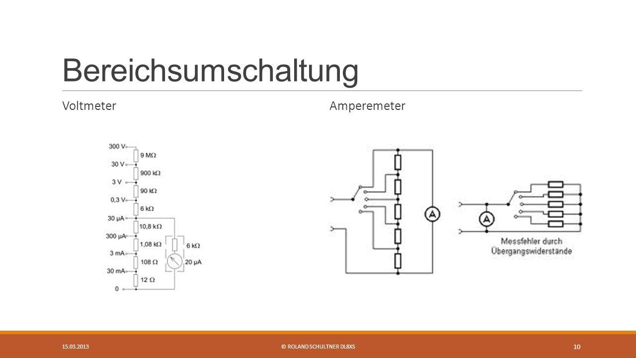 Bereichsumschaltung Voltmeter Amperemeter 15.03.2013© ROLAND SCHULTNER DL8XS 10