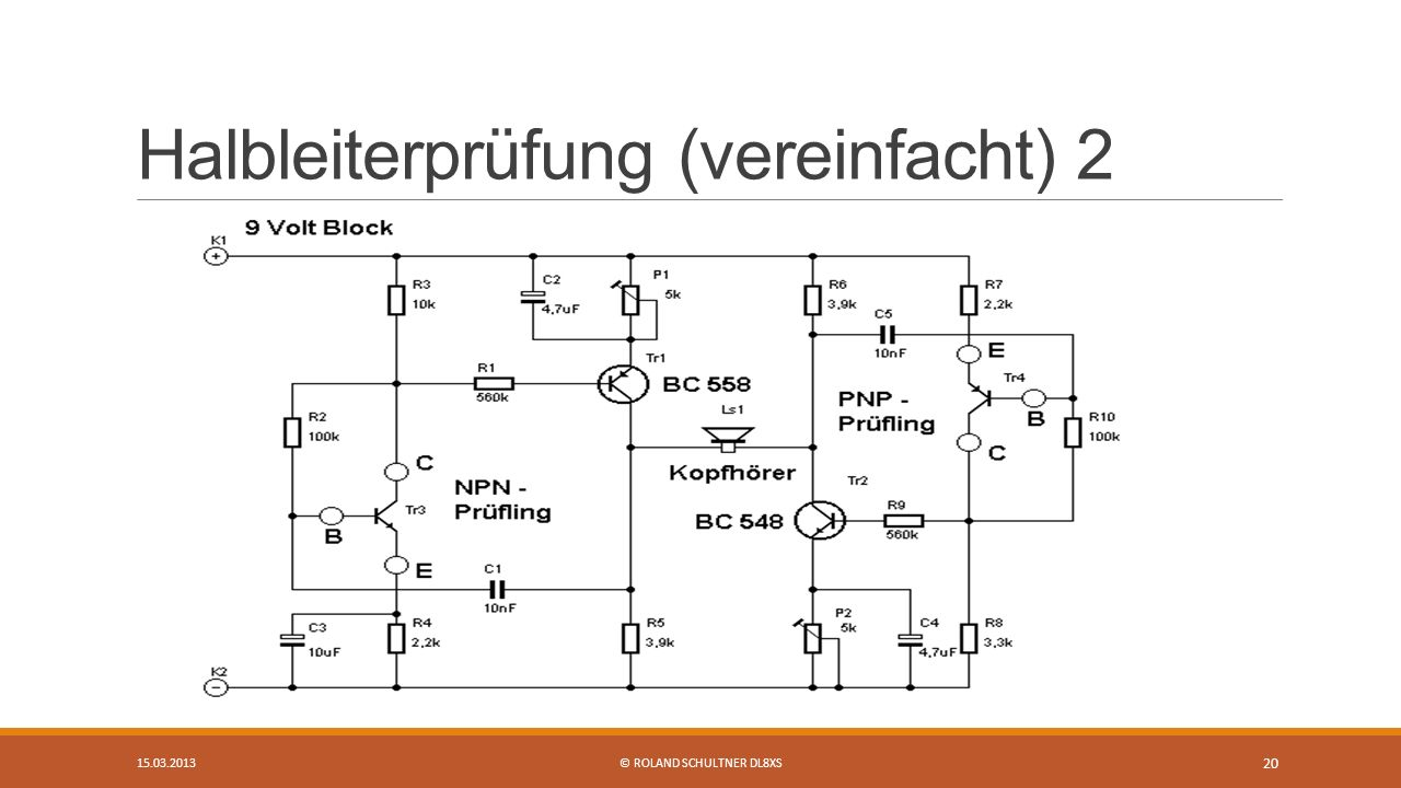 Halbleiterprüfung (vereinfacht) 2 15.03.2013© ROLAND SCHULTNER DL8XS 20