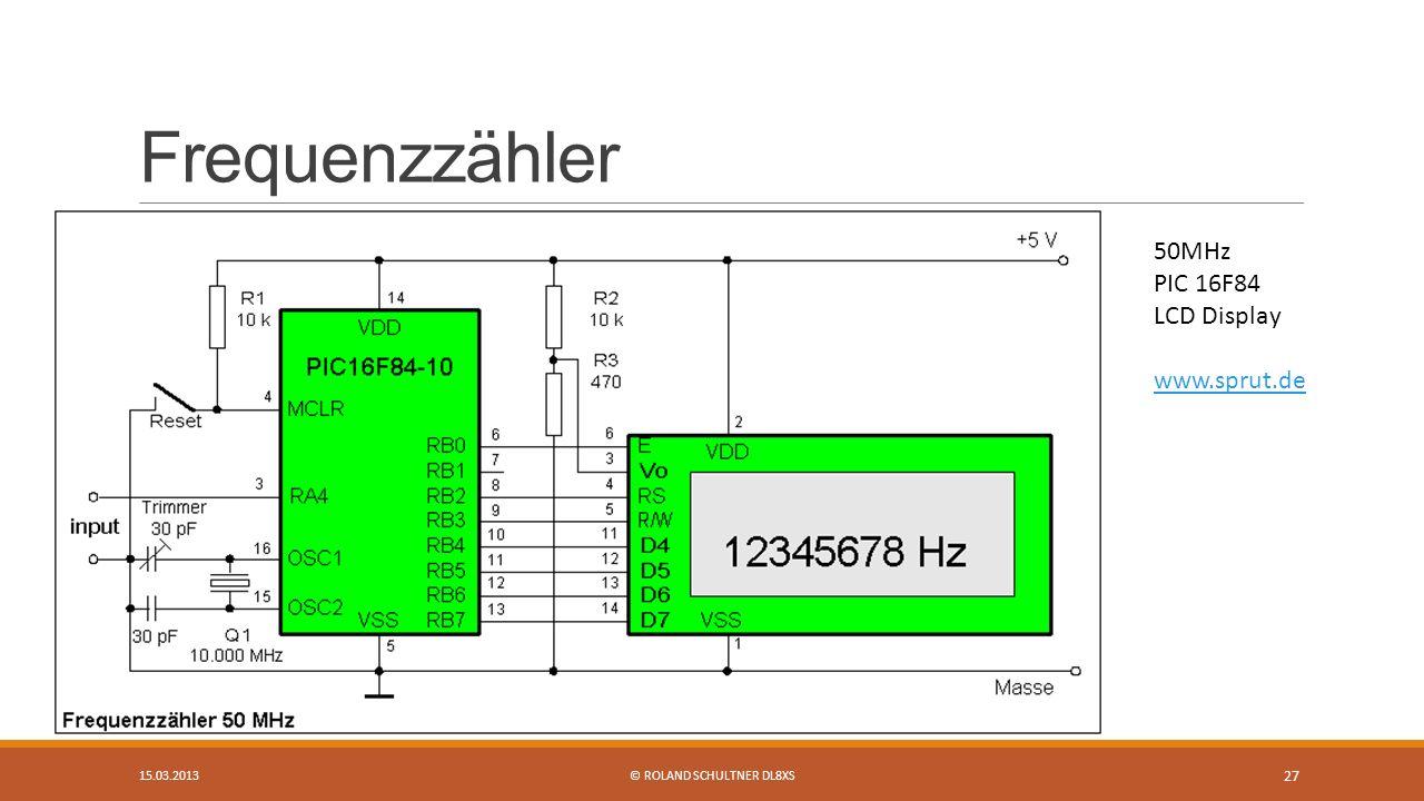 Frequenzzähler 15.03.2013© ROLAND SCHULTNER DL8XS 27 50MHz PIC 16F84 LCD Display www.sprut.de