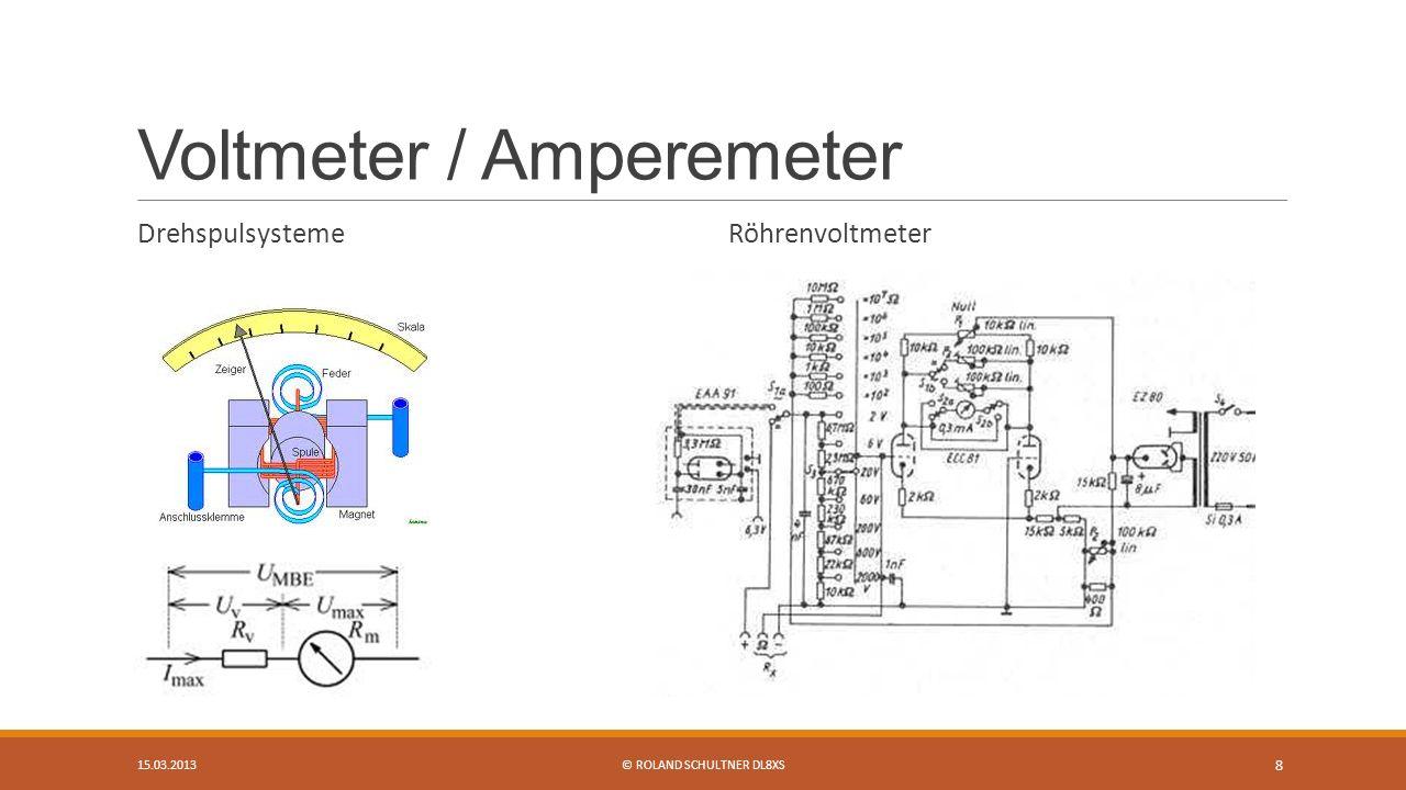 Voltmeter / Amperemeter Drehspulsysteme Röhrenvoltmeter 15.03.2013© ROLAND SCHULTNER DL8XS 8