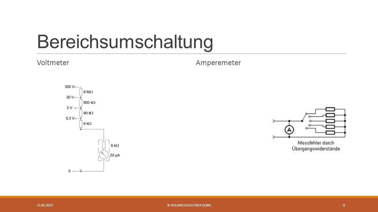 Bereichsumschaltung Voltmeter Amperemeter 15.03.2013© ROLAND SCHULTNER DL8XS 9