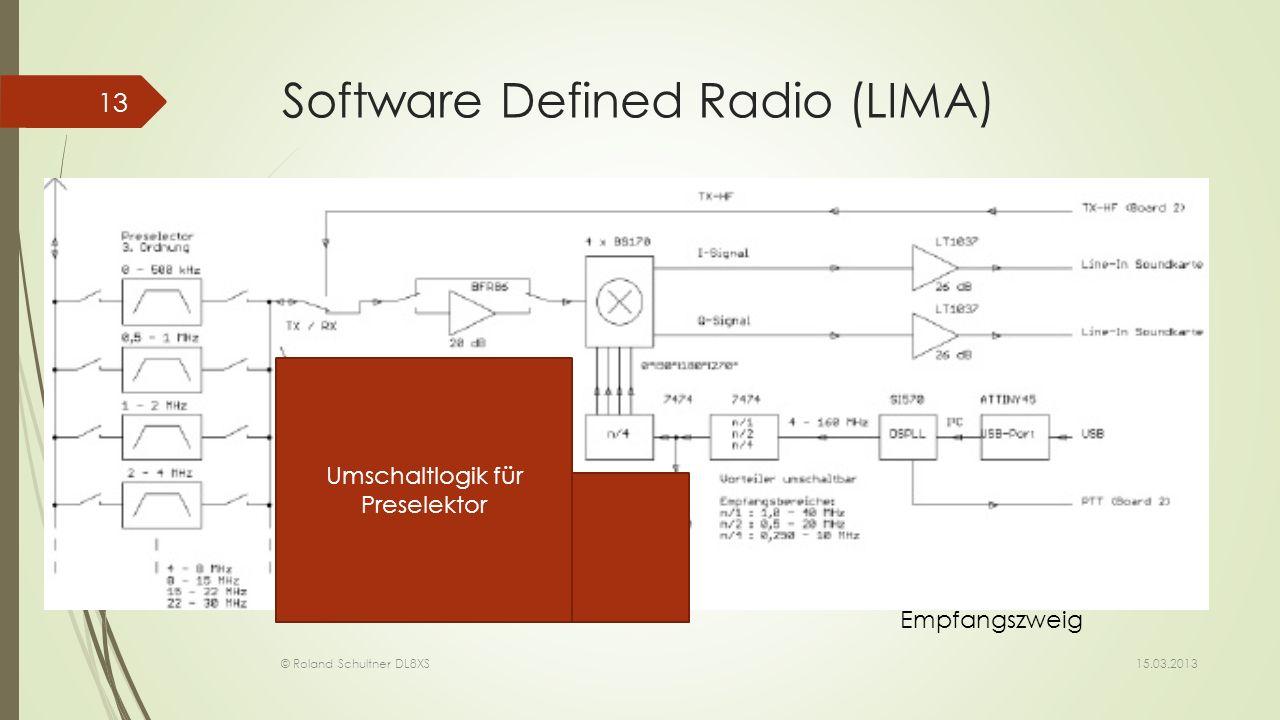 Software Defined Radio (LIMA) 15.03.2013 © Roland Schultner DL8XS 13 Umschaltlogik für Preselektor Empfangszweig