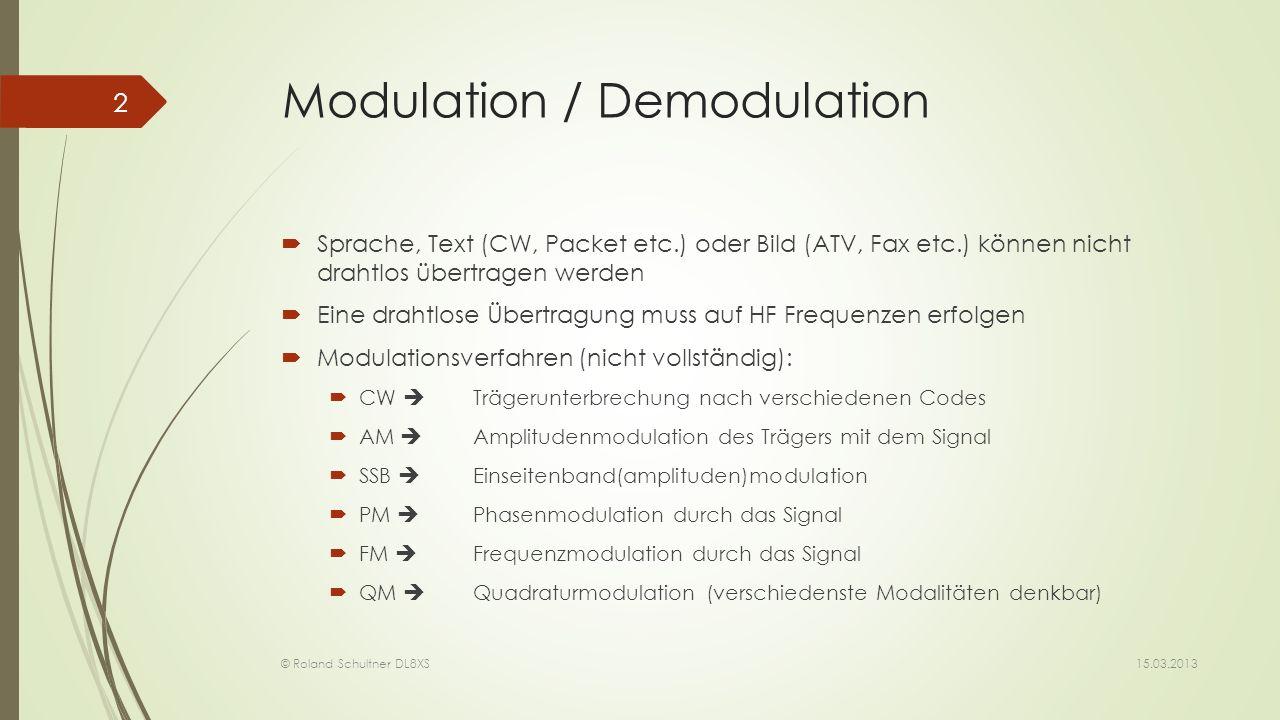 Modulation / Demodulation Sprache, Text (CW, Packet etc.) oder Bild (ATV, Fax etc.) können nicht drahtlos übertragen werden Eine drahtlose Übertragung