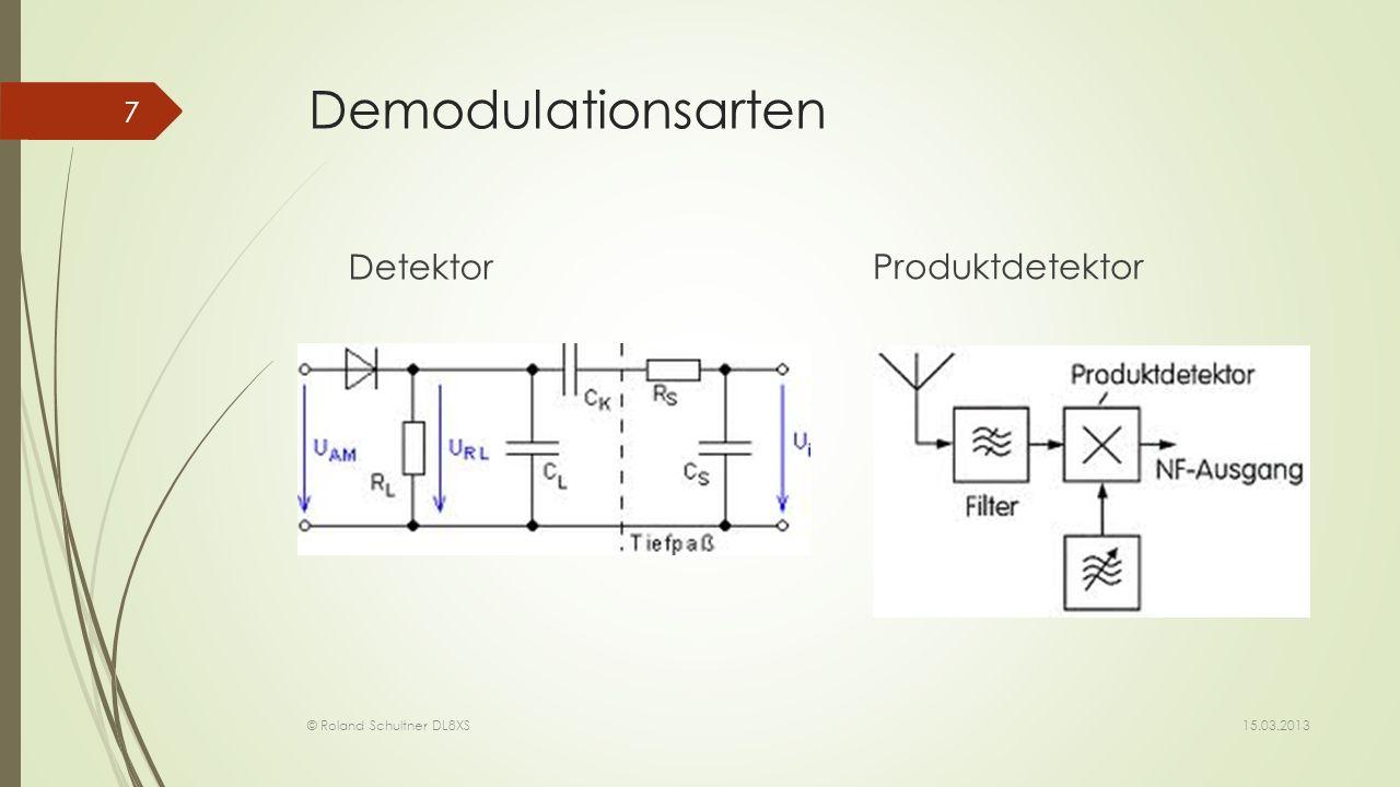 Demodulationsarten Detektor Produktdetektor 15.03.2013 © Roland Schultner DL8XS 7