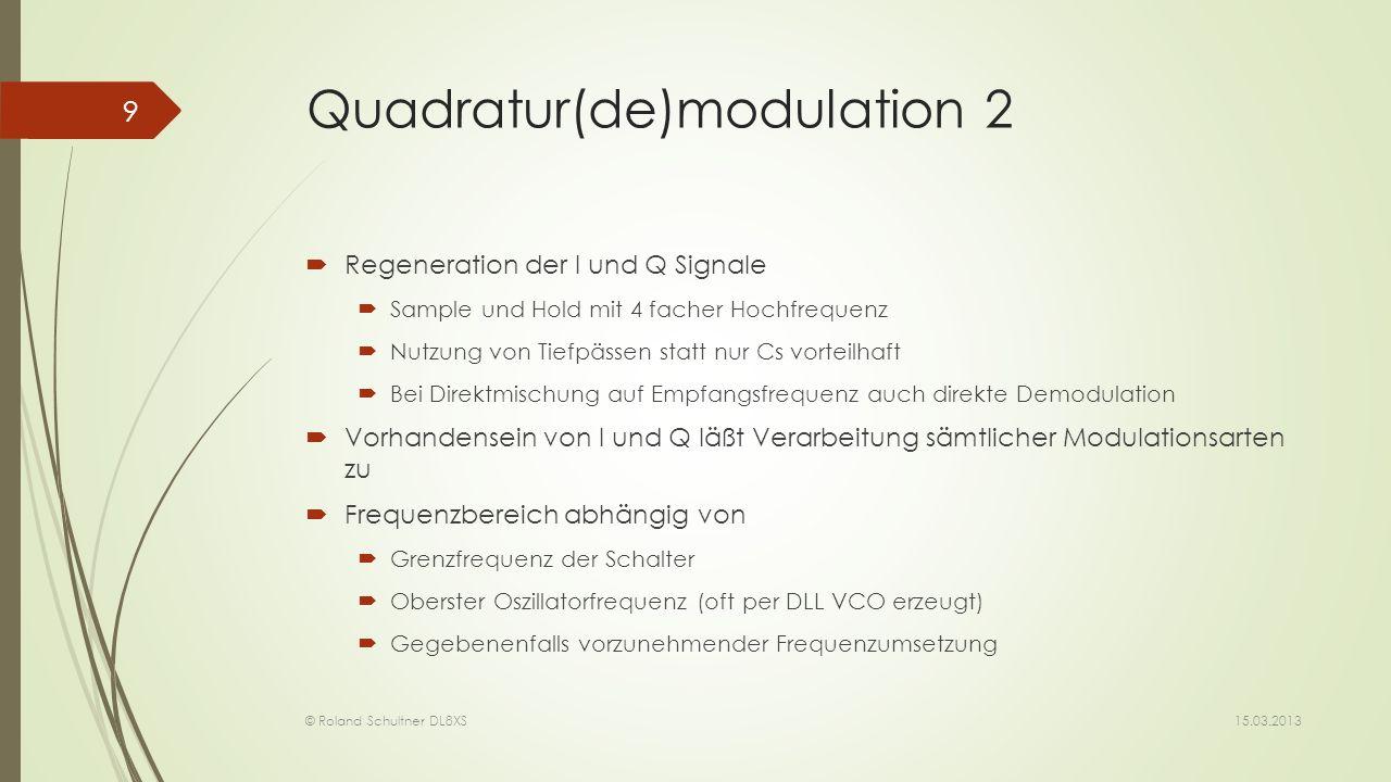 Quadratur(de)modulation 2 Regeneration der I und Q Signale Sample und Hold mit 4 facher Hochfrequenz Nutzung von Tiefpässen statt nur Cs vorteilhaft B