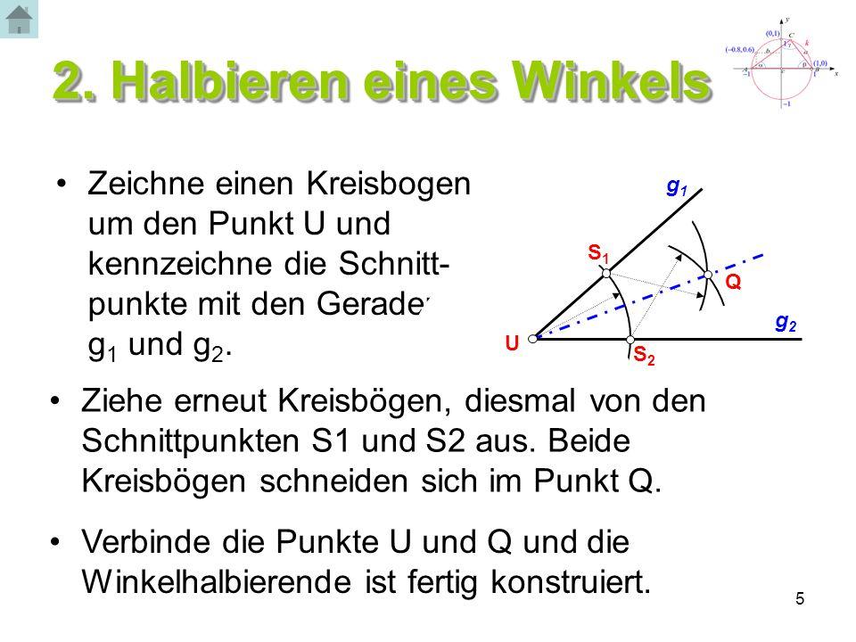 5 2. Halbieren eines Winkels Zeichne einen Kreisbogen um den Punkt U und kennzeichne die Schnitt- punkte mit den Geraden g 1 und g 2. g2g2 S2S2 S1S1 g