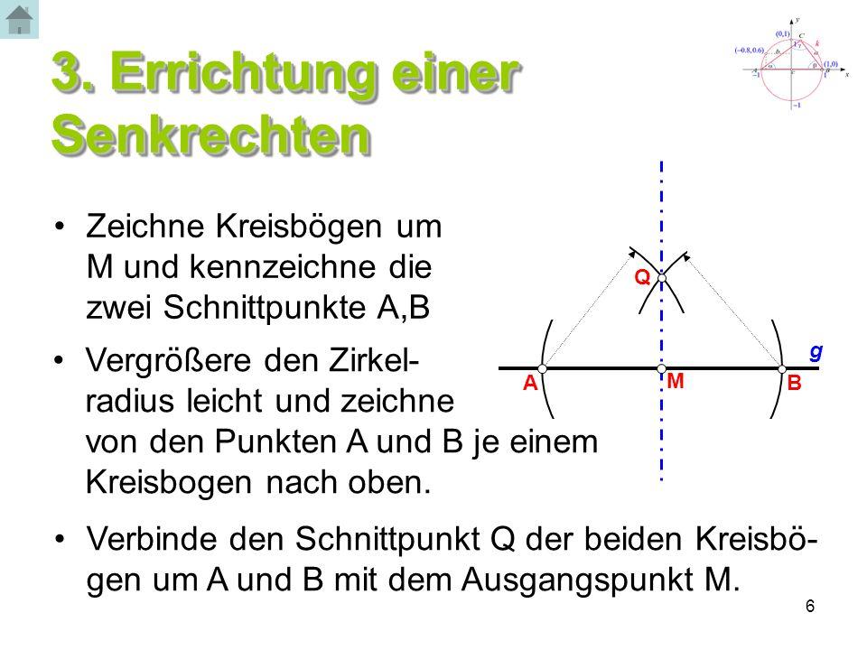 6 3. Errichtung einer Senkrechten A B P Zeichne Kreisbögen um M und kennzeichne die zwei Schnittpunkte A,B Vergrößere den Zirkel- radius leicht und ze