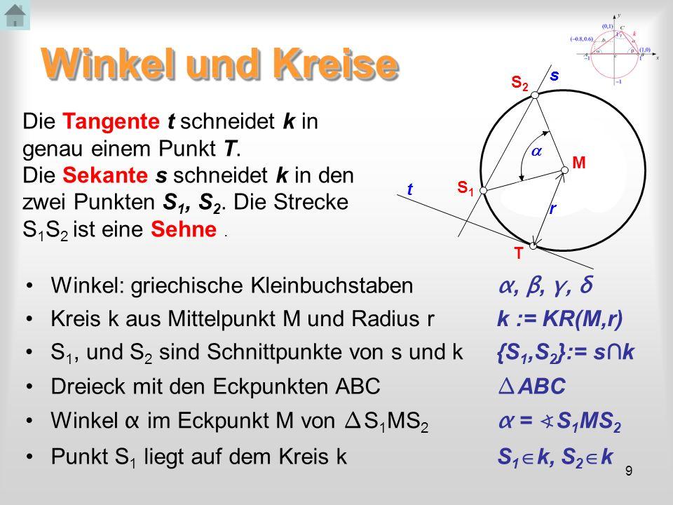 9 Winkel und Kreise Winkel: griechische Kleinbuchstaben α, β, γ, δ S1S1 s S2S2 r M T t Die Tangente t schneidet k in genau einem Punkt T. Die Sekante