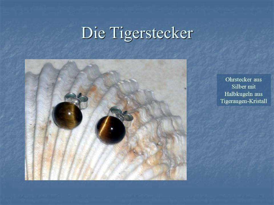 Ohrstecker aus Silber mit Halbkugeln aus Tigeraugen-Kristall Die Tigerstecker