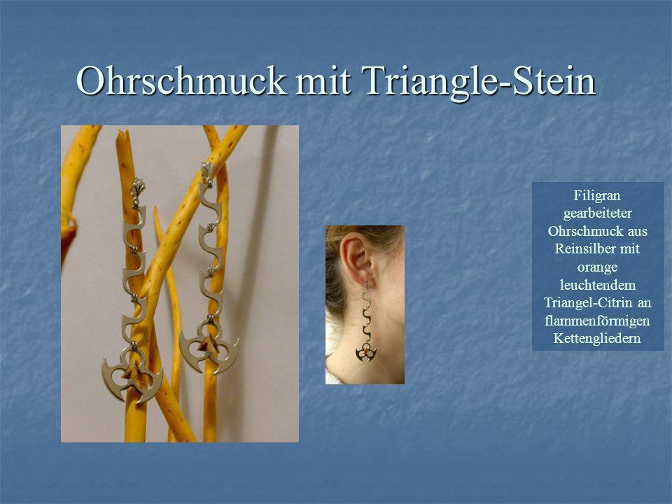 Filigran gearbeiteter Ohrschmuck aus Reinsilber mit orange leuchtendem Triangel-Citrin an flammenförmigen Kettengliedern Ohrschmuck mit Triangle-Stein