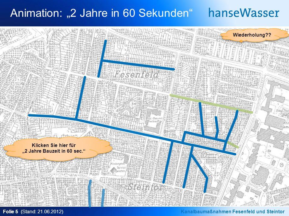 Folie 5 (Stand: 21.06.2012)Kanalbaumaßnahmen Fesenfeld und Steintor Animation: 2 Jahre in 60 Sekunden Wiederholung?.
