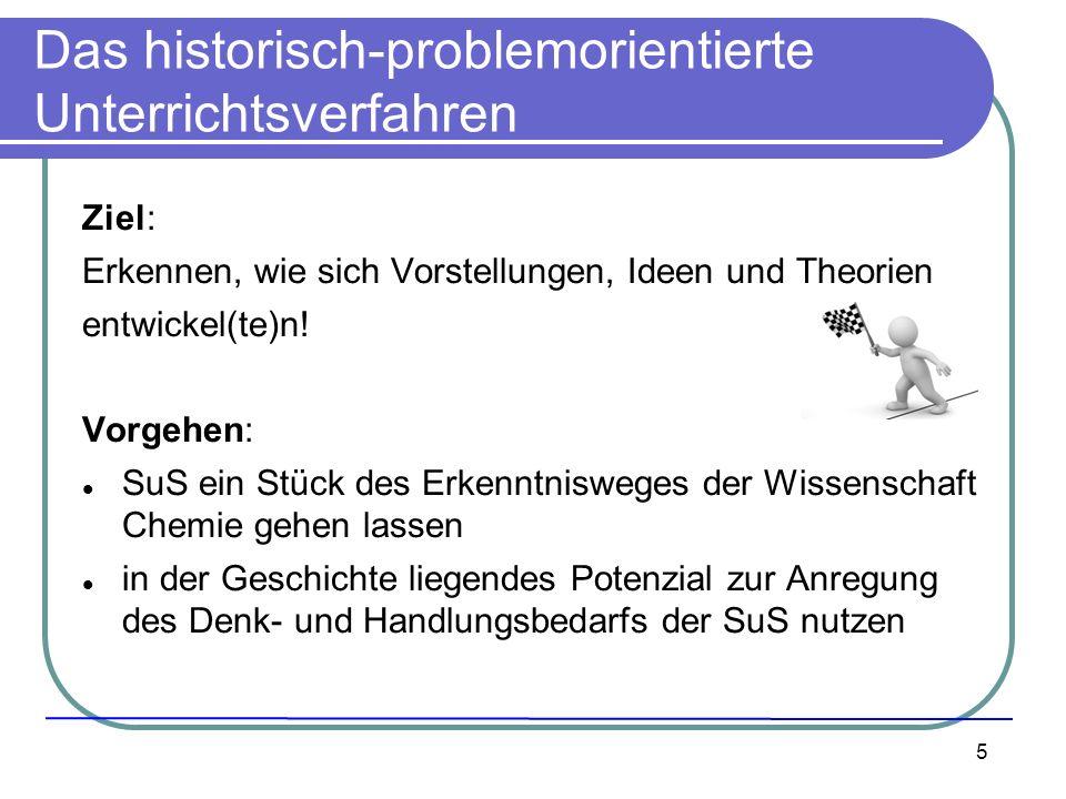 5 Das historisch-problemorientierte Unterrichtsverfahren Ziel: Erkennen, wie sich Vorstellungen, Ideen und Theorien entwickel(te)n! Vorgehen: SuS ein