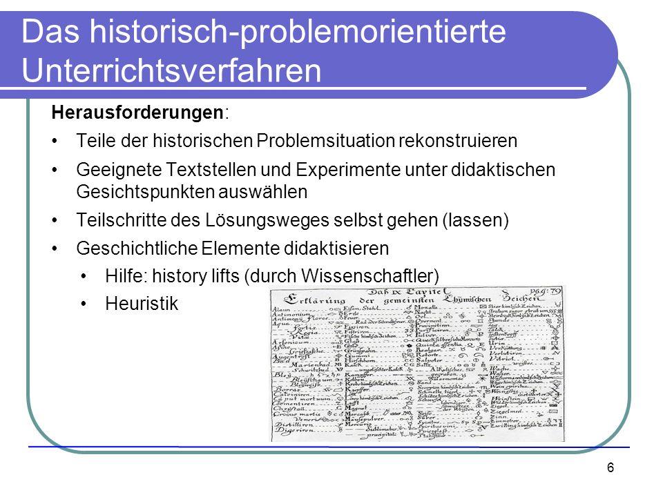 6 Das historisch-problemorientierte Unterrichtsverfahren Herausforderungen: Teile der historischen Problemsituation rekonstruieren Geeignete Textstell