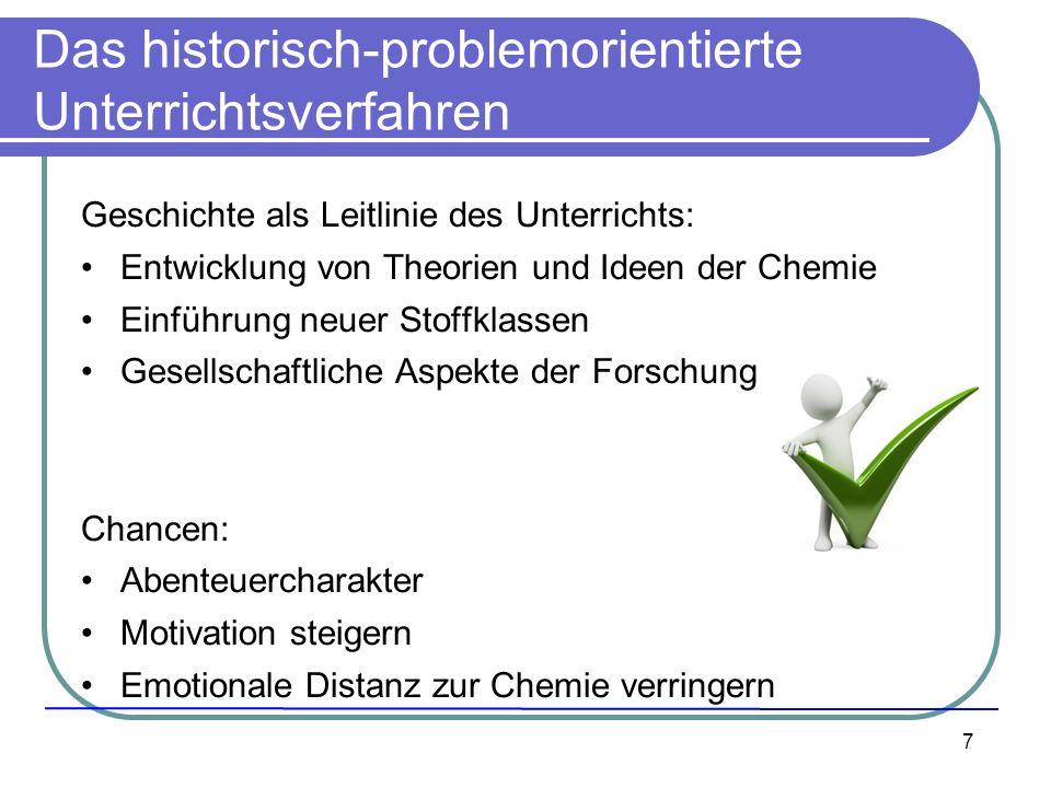 7 Das historisch-problemorientierte Unterrichtsverfahren Geschichte als Leitlinie des Unterrichts: Entwicklung von Theorien und Ideen der Chemie Einfü