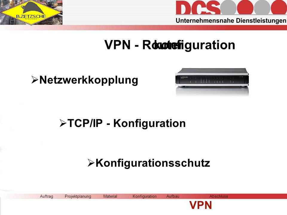 AuftragMaterialKonfigurationAufbau VPN AbschlussProjektplanung VPN - Routerkonfiguration Netzwerkkopplung TCP/IP - Konfiguration Konfigurationsschutz