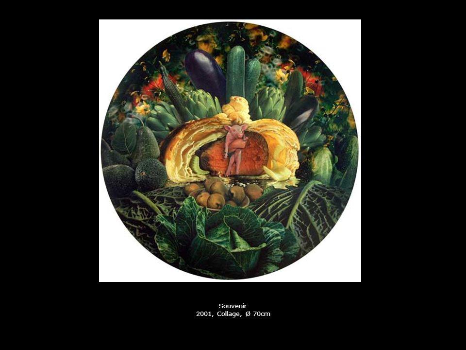 Souvenir 2001, Collage, Ø 70cm