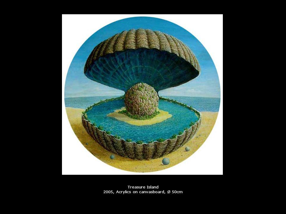 Treasure Island 2005, Acrylics on canvasboard, Ø 50cm