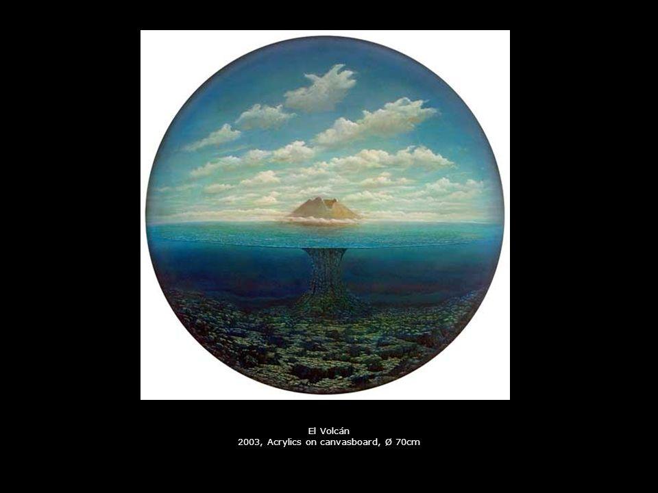 El Volcán 2003, Acrylics on canvasboard, Ø 70cm