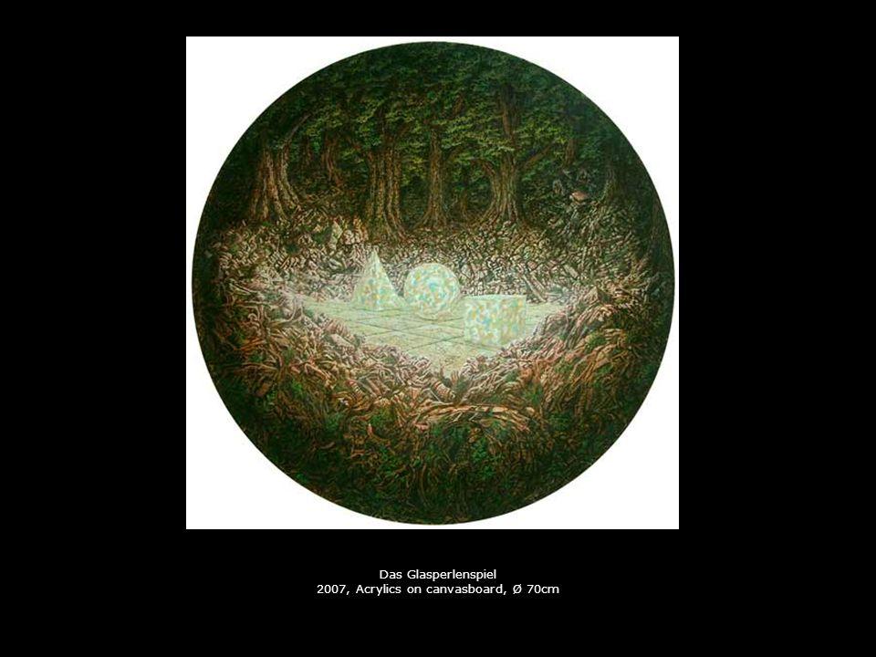 Sous la Pluie 2007, Acrylics on canvasboard, Ø 70cm