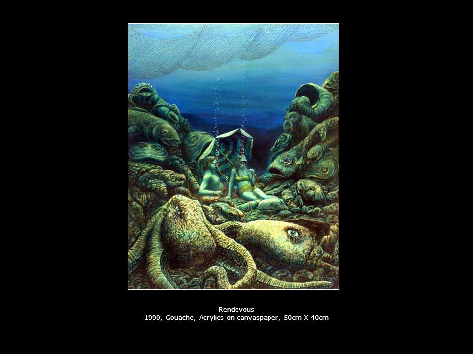 Rendevous 1990, Gouache, Acrylics on canvaspaper, 50cm X 40cm