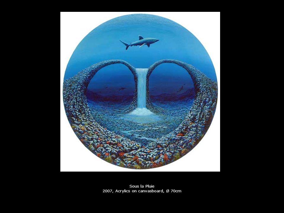 Die Reise im Kopf 2001, Collage, Ø 70cm