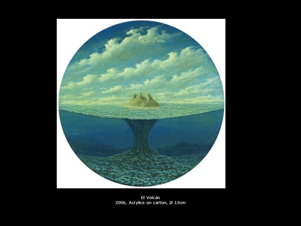 El Volcán 2006, Acrylics on carton, Ø 13cm