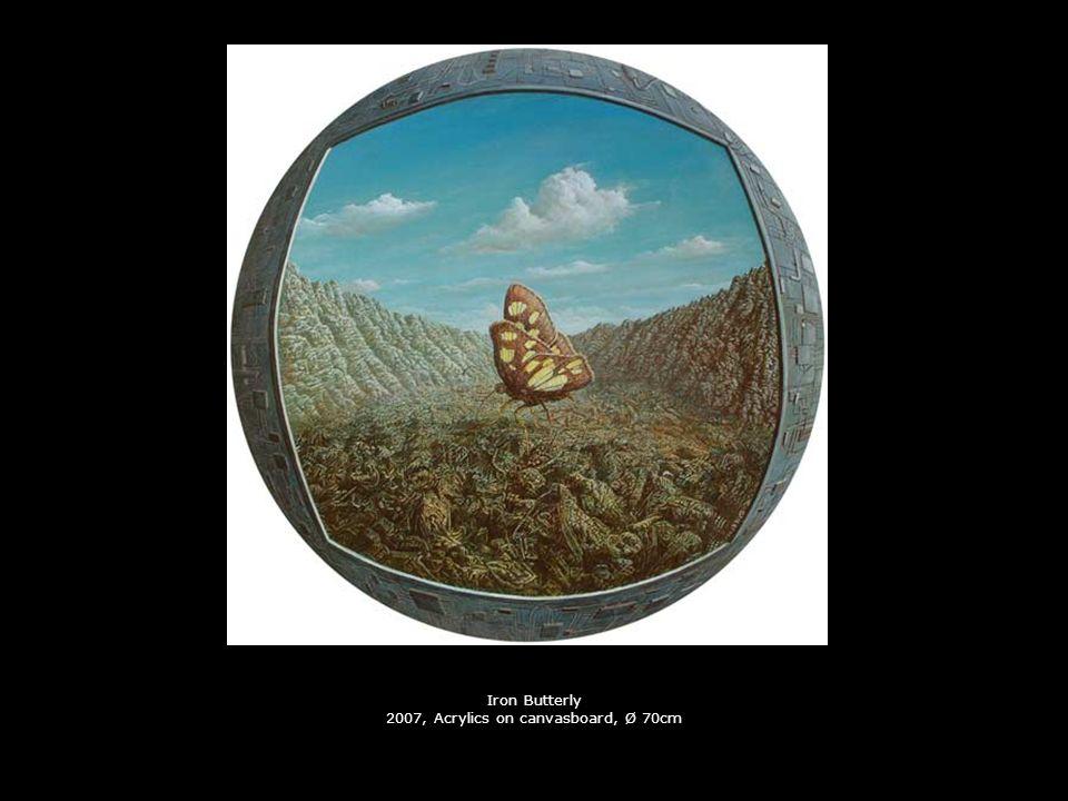 Reconstruction 2006, Acrylics on carton, Ø 13cm