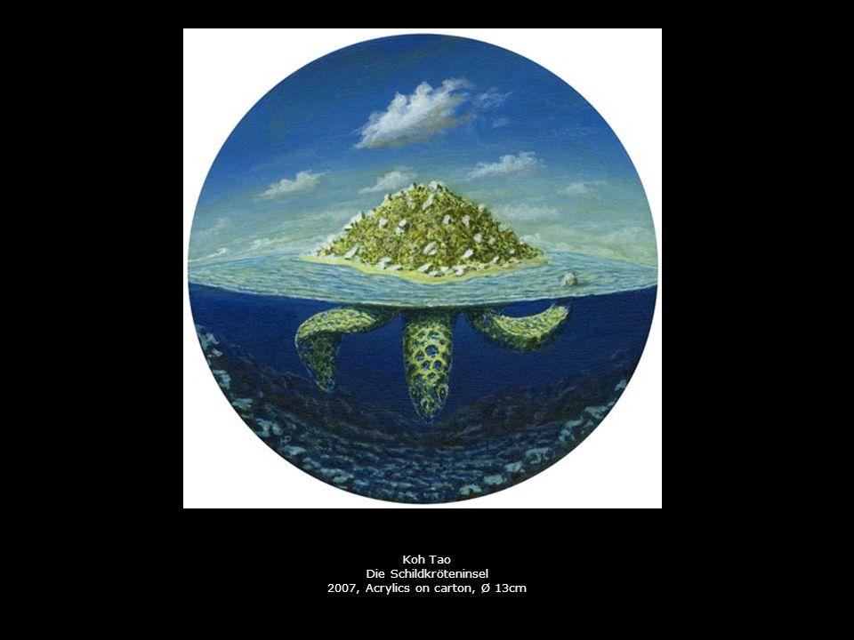 Koh Tao Die Schildkröteninsel 2007, Acrylics on carton, Ø 13cm