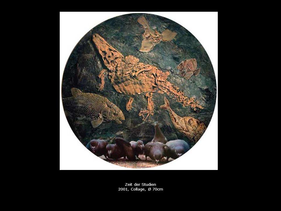 Zeit der Studien 2001, Collage, Ø 70cm