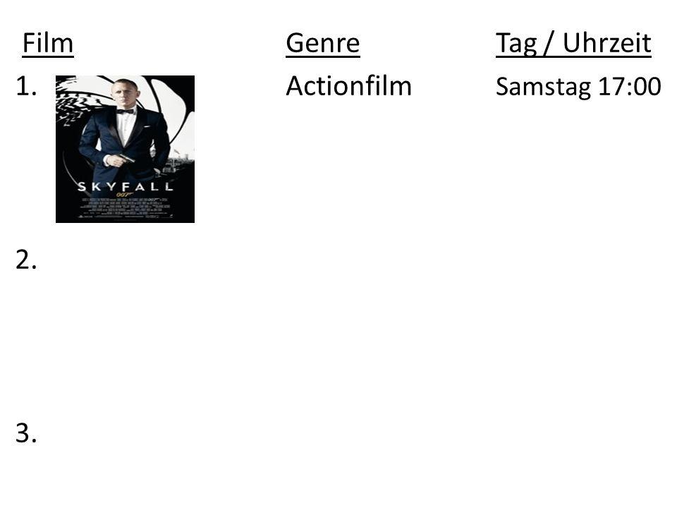 FilmGenre Tag / Uhrzeit 1.Actionfilm Samstag 17:00 2. 3.