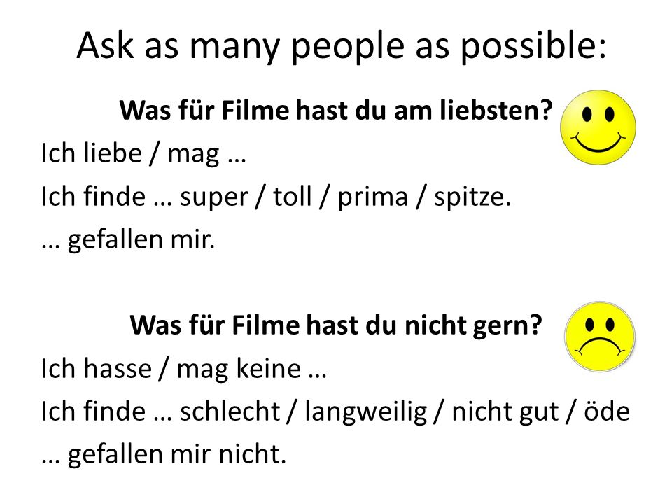 Ich wollte (wanted to) Ich musste (I had to) Ich konnte (I was able to) Ich durfte (I was allowed to) + INFINITIVE (spielen, machen etc)