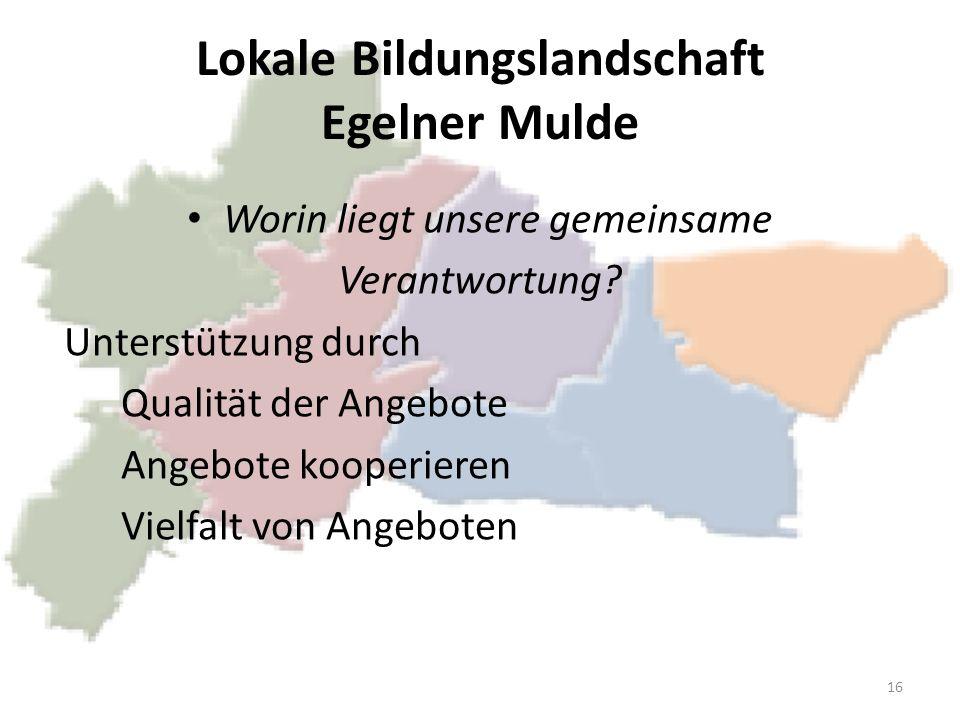 Lokale Bildungslandschaft Egelner Mulde Worin liegt unsere gemeinsame Verantwortung? Unterstützung durch Qualität der Angebote Angebote kooperieren Vi