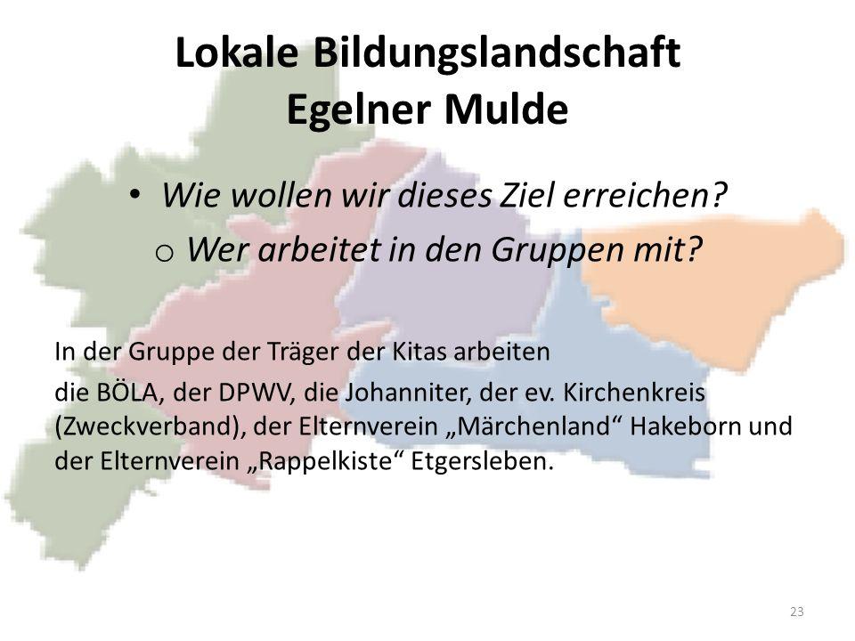 Lokale Bildungslandschaft Egelner Mulde Wie wollen wir dieses Ziel erreichen? o Wer arbeitet in den Gruppen mit? In der Gruppe der Träger der Kitas ar