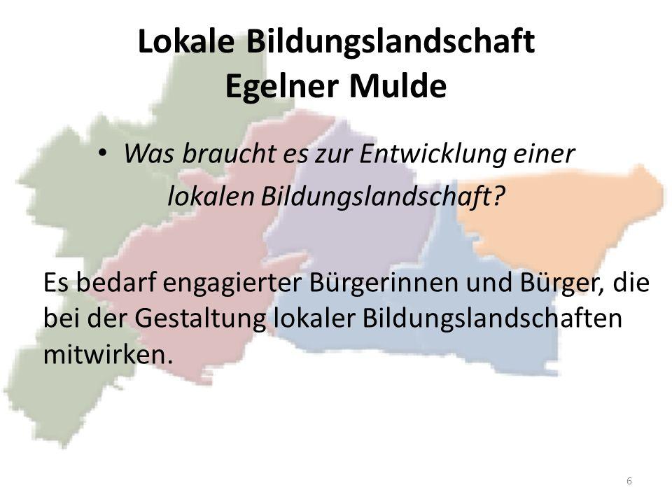 Lokale Bildungslandschaft Egelner Mulde Was braucht es zur Entwicklung einer lokalen Bildungslandschaft? Es bedarf engagierter Bürgerinnen und Bürger,