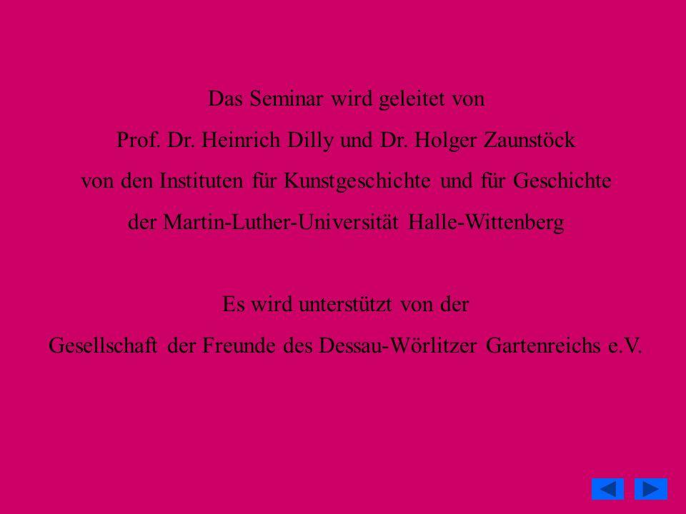 Das Seminar wird geleitet von Prof. Dr. Heinrich Dilly und Dr. Holger Zaunstöck von den Instituten für Kunstgeschichte und für Geschichte der Martin-L