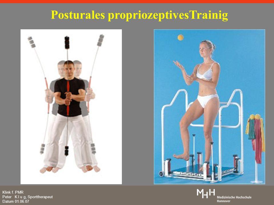 Klink f. PMR Peter K l u g, Sporttherapeut Datum 01.06.07 Posturales propriozeptivesTrainig