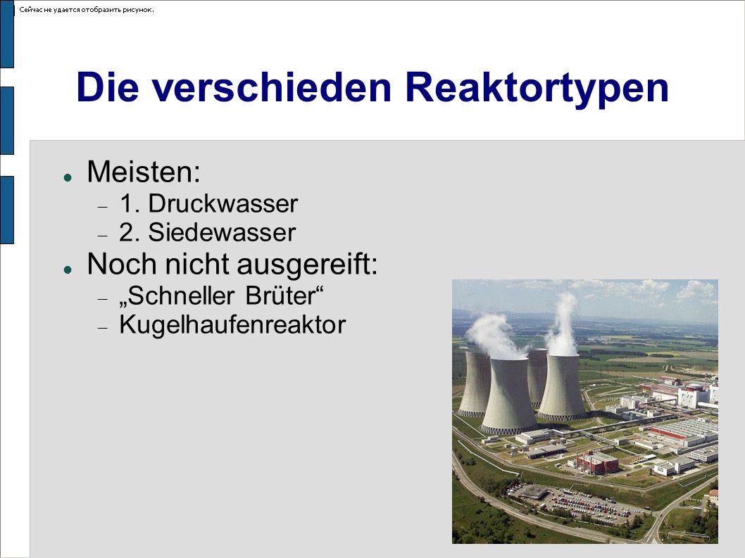 Die verschieden Reaktortypen Meisten: 1. Druckwasser 2. Siedewasser Noch nicht ausgereift: Schneller Brüter Kugelhaufenreaktor
