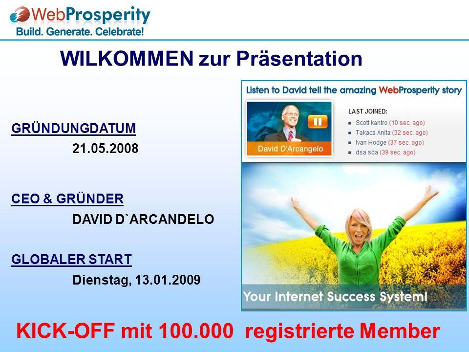 GRÜNDUNGDATUM 21.05.2008 CEO & GRÜNDER DAVID D`ARCANDELO GLOBALER START Dienstag, 13.01.2009 WILKOMMEN zur Präsentation KICK-OFF mit 100.000 registrierte Member