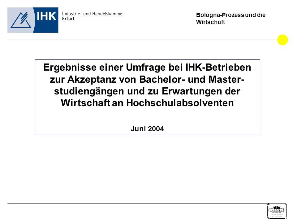 Bologna-Prozess und die Wirtschaft Ergebnisse einer Umfrage bei IHK-Betrieben zur Akzeptanz von Bachelor- und Master- studiengängen und zu Erwartungen der Wirtschaft an Hochschulabsolventen Juni 2004