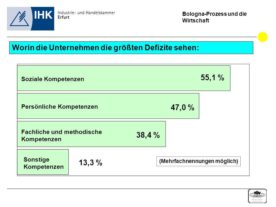 Bologna-Prozess und die Wirtschaft Worin die Unternehmen die größten Defizite sehen: 55,1 % (Mehrfachnennungen möglich) Soziale Kompetenzen 13,3 % 38,4 % 47,0 % Persönliche Kompetenzen Fachliche und methodische Kompetenzen Sonstige Kompetenzen