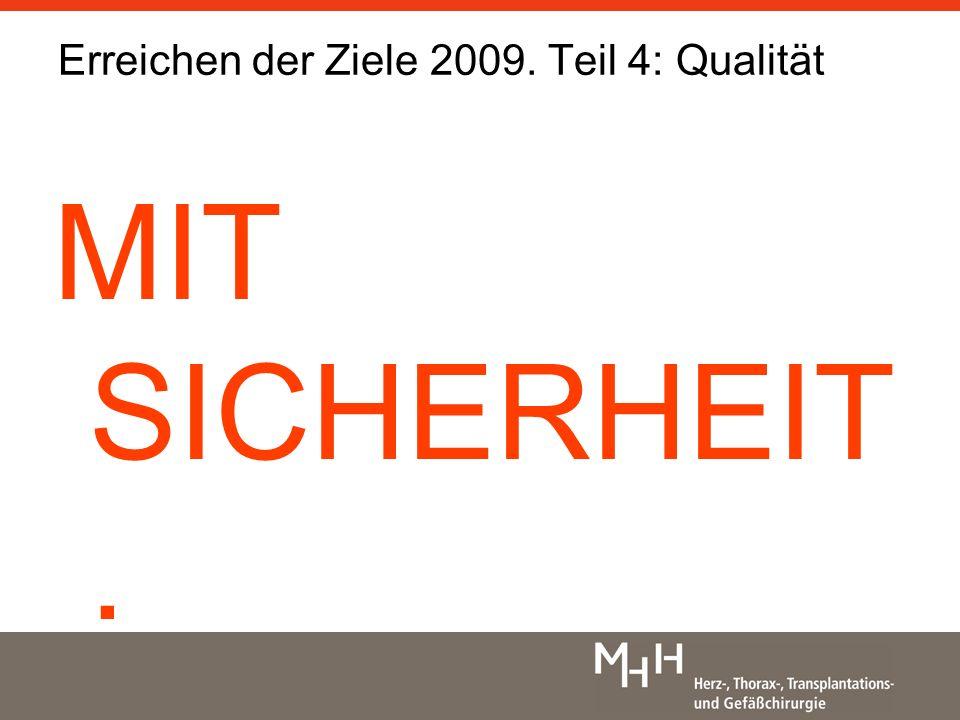 MIT SICHERHEIT. Erreichen der Ziele 2009. Teil 4: Qualität