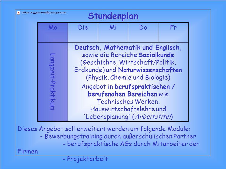 MoDieMiDoFr Langzeit-Praktikum Deutsch, Mathematik und Englisch, sowie die Bereiche Sozialkunde (Geschichte, Wirtschaft/Politik, Erdkunde) und Naturwi